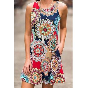 Dresses & Skirts - Bohemian Geometric Floral Sundress with Pockets